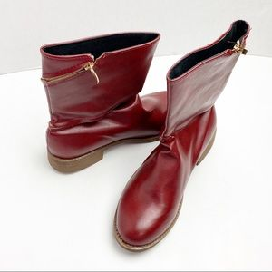 Western Style Round Zipper Pointed Toe Ankle Boots